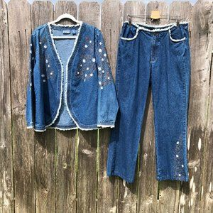 Vintage Wrangler Denim Jeans Blazer Jacket Set